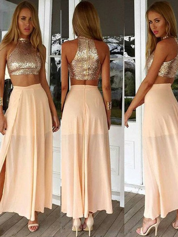 A-Line/Princess High Neck Chiffon Sleeveless Ankle-Length Two Piece Prom Dresses
