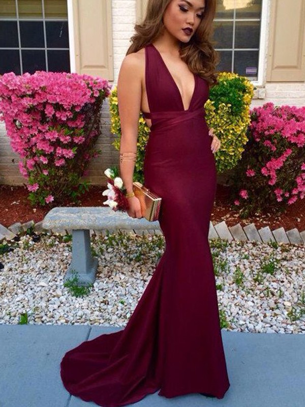 Trumpet/Mermaid V-Neck Satin Sleeveless Sweep/Brush Train Prom Dresses
