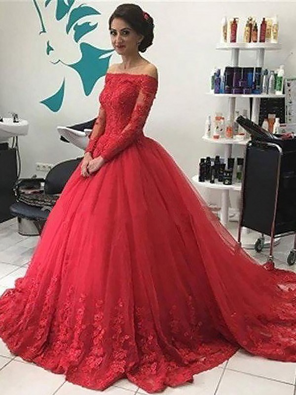 Ball Gown Off-the-Shoulder Tulle Long Sleeves Sweep/Brush Train Prom Dresses