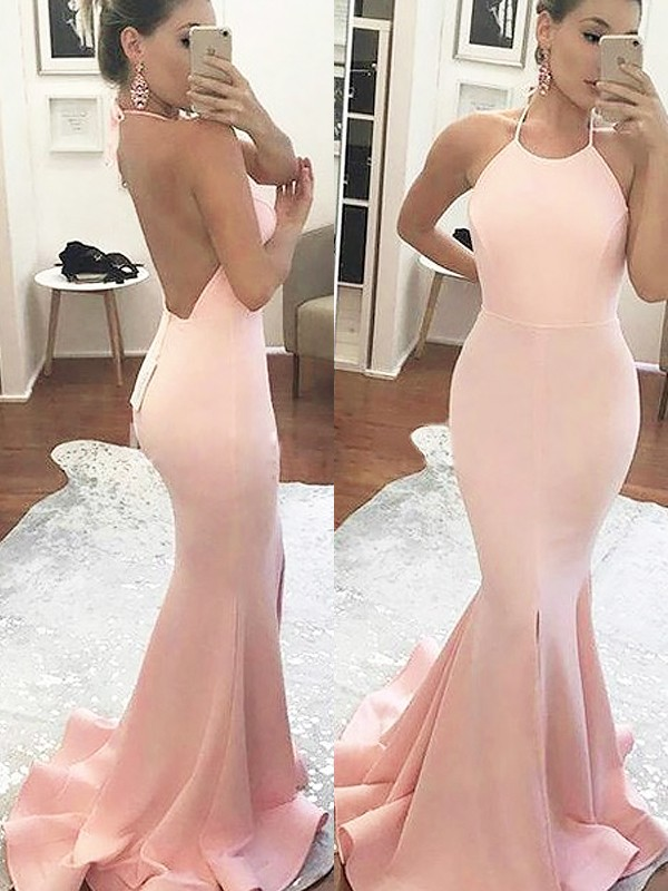 Trumpet/Mermaid Halter Satin Sleeveless Sweep/Brush Train Prom Dresses