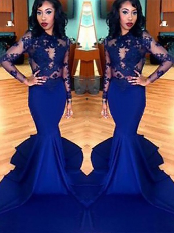 Trumpet/Mermaid Scoop Satin Long Sleeves Sweep/Brush Train Prom Dresses
