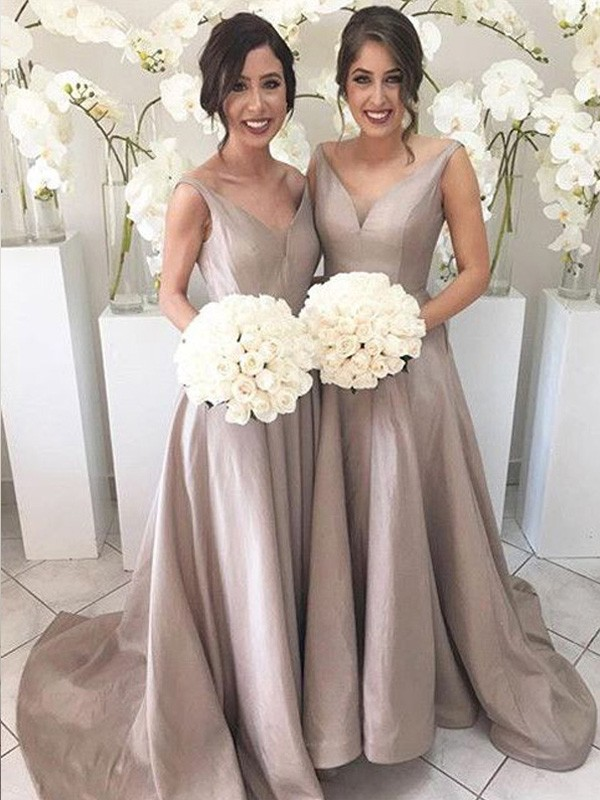 A-Line/Princess V-neck Taffeta Sleeveless Sweep/Brush Train Bridesmaid Dresses