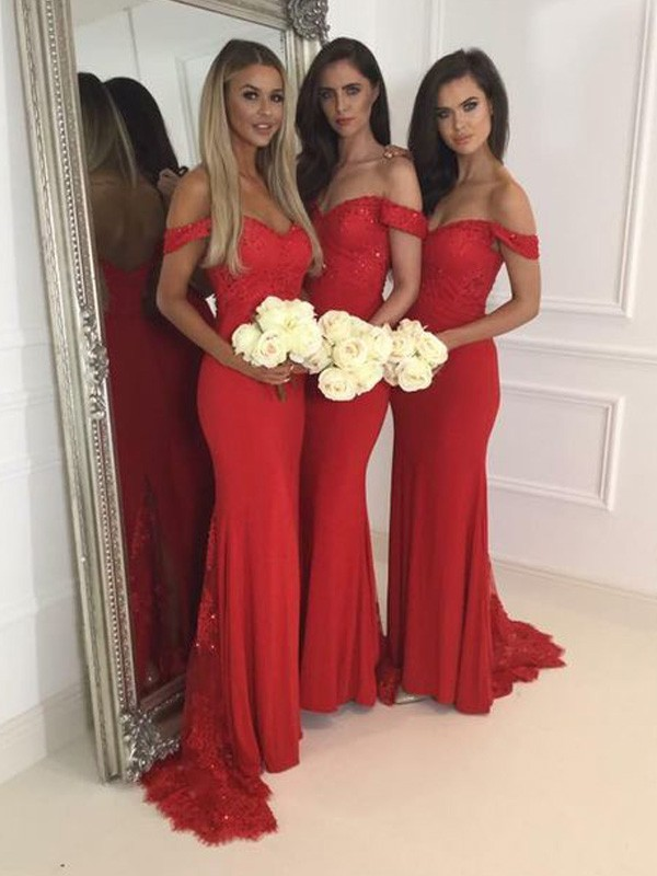 Trumpet/Mermaid Off-the-Shoulder Jersey Sleeveless Sweep/Brush Train Bridesmaid Dresses