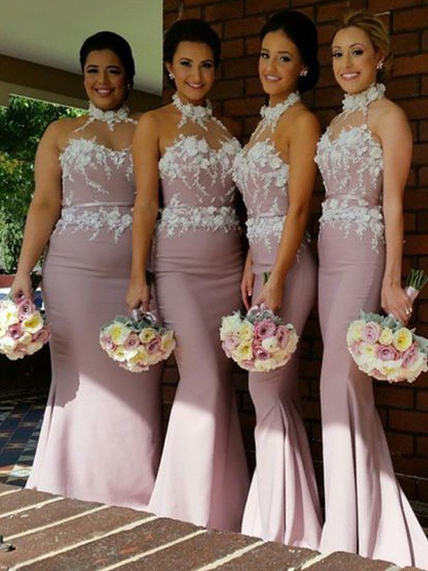 Trumpet/Mermaid Halter Satin Sleeveless Floor-Length Bridesmaid Dresses