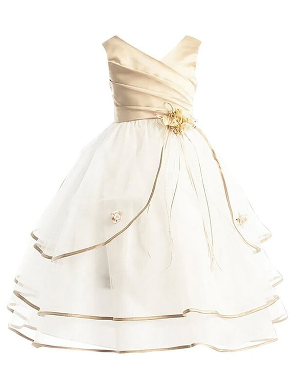 A-line/Princess V-neck Tulle Sleeveless Ankle-Length Flower Girl Dresses