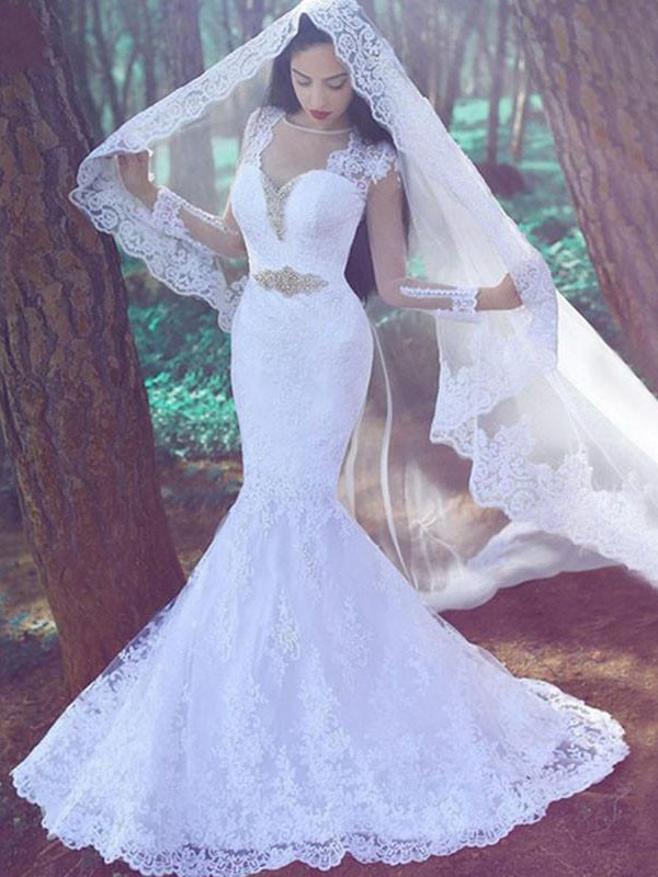 Trumpet/Mermaid Sweetheart Lace Long Sleeves Court Train Wedding Dresses