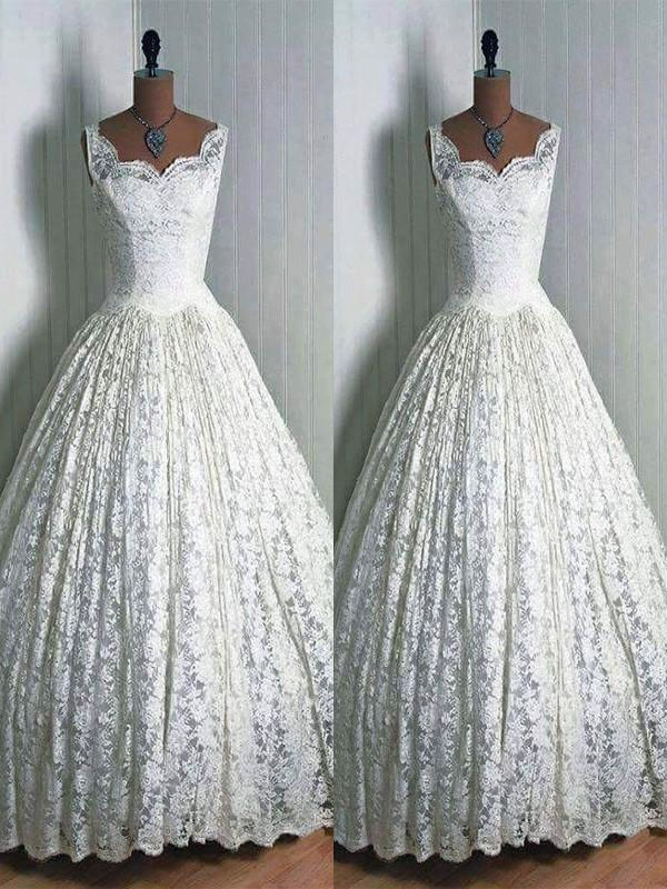 Ball Gown Sweetheart Lace Sleeveless Floor-Length Wedding Dresses