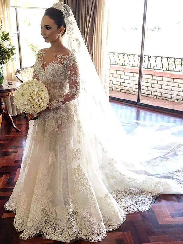 A-Line/Princess Bateau Tulle Long Sleeves Chapel Train Wedding Dresses
