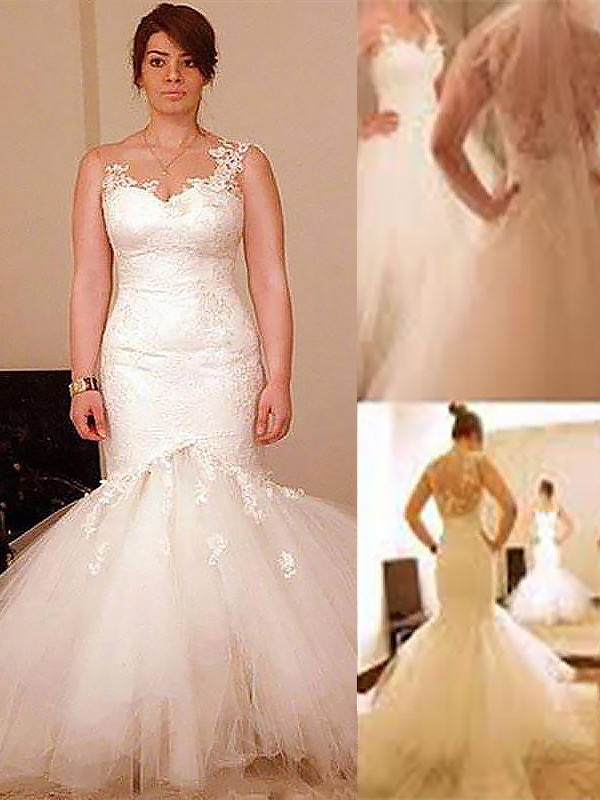 Trumpet/Mermaid Straps Organza Sleeveless Floor-Length Wedding Dresses