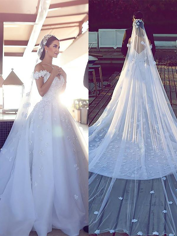 Ball Gown V-neck Satin Chiffon Sleeveless Chapel Train Wedding Dresses