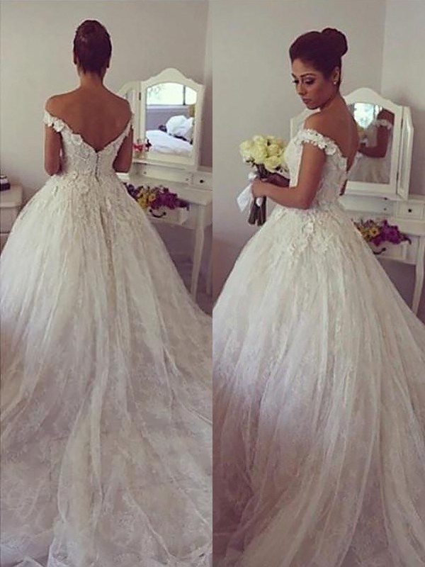Ball Gown Off-the-Shoulder Lace Sleeveless Court Train Wedding Dresses