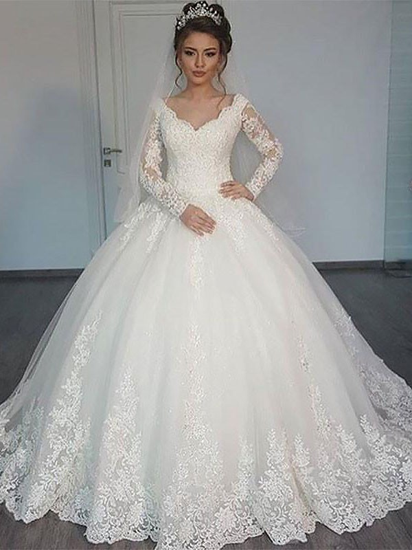 Ball Gown V-neck Tulle Long Sleeves Court Train Wedding Dresses