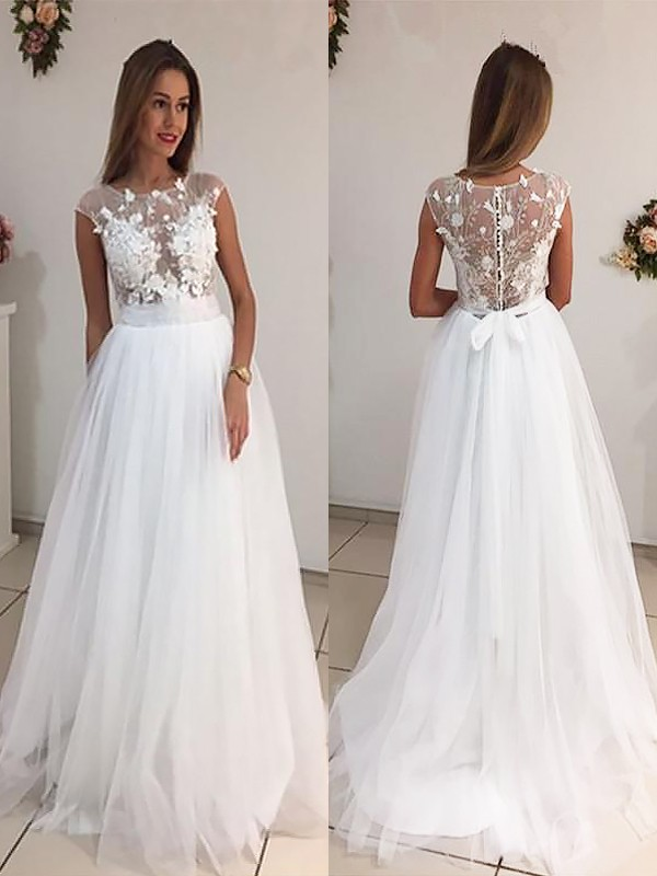 A-Line/Princess Scoop Tulle Sleeveless Sweep/Brush Train Wedding Dresses