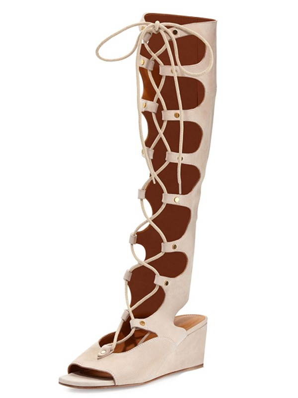 Women's Suede Wedge Heel Peep Toe With Lace-up Sandal Knee High Champagne Boots