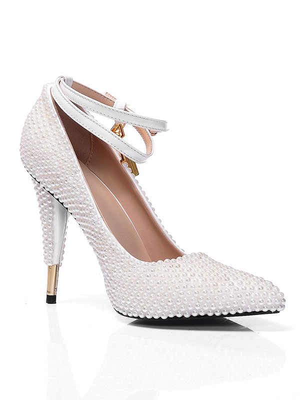 Women's White Patent Leather Closed Toe Cone Heel With Pearl White Wedding Shoes