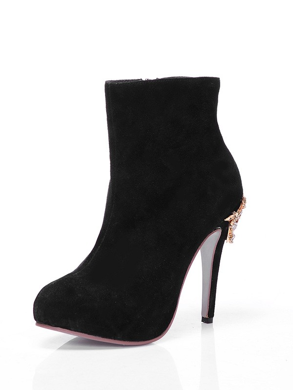 Women's Suede Closed Toe Platform Stiletto Heel With Rhinestone Ankle Black Boots