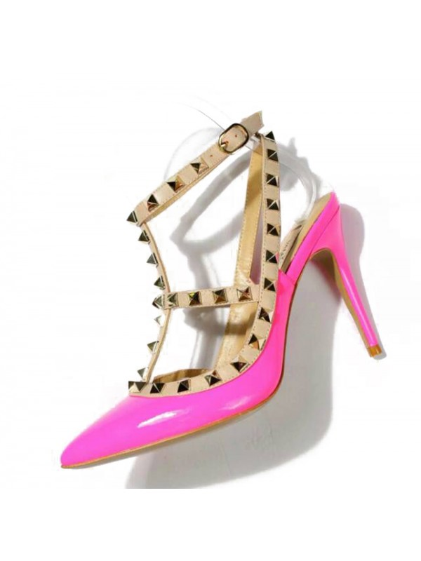 Women's Stiletto Heel Patent Leather Closed Toe With Rivet Sandals Shoes
