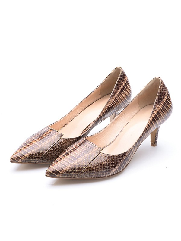 Women's Cone Heel Patent Leather Closed Toe With Crocodile Print High Heels