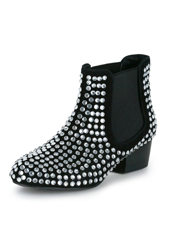 Women's Suede Kitten Heel Closed Toe With Rhinestone Black Bootie