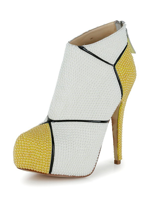 Women's Patent Leather Stiletto Heel Closed Toe Booties/Ankle White Boots