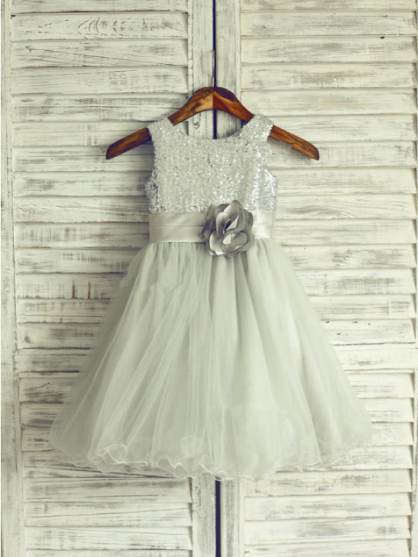 A-Line/Princess Scoop Organza Sleeveless Knee-Length Flower Girl Dresses
